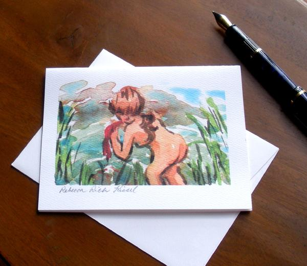 Note cards watercolor nude Rebecca